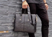 Бренд дизайнер мужчин портфель черный подлинный кожаный аллигатор шаблон дизайнерская сумка бизнесмены ноутбук сумка