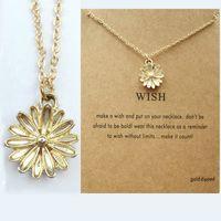 Little Daisy Pingentes Gravatas Golden Sun Flor Colar Colar com Gift Card Mulheres Colares Moda Jóias