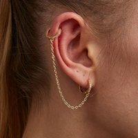 Orecchini retrattili dell'orecchio del cerchio del cerchio del cerchio del cerchio del cerchio di Huggie per le donne ad orecchini dell'oro dell'oro di donne unisex della catena dell'oro del controping del DOPPIO PIERCING BRINCOS 2021