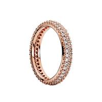 100٪ 925 الخواتم الفضة الاسترليني مع زركون مكعب مربع الأصلي ل باندورا الأزياء الدائري ليوم عيد الحب روز الذهب خاتم الزواج 47 O2