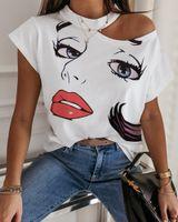 새로운 도착 Womens 티셔츠 스탠드 칼라 조인트 넥 주위에 칼라 조인트 인쇄 민소매 숙녀 아세테이트 크기 S-2XL