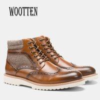 Leder handgemachte Männer Retro Platform Worten Martins Schuhe Winter Knöchelstiefel Für Männer # Al611C3 201203