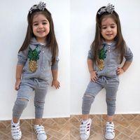 Baby Girl Sport vestiti che coprono insieme a maniche lunghe paillettes Ananas con cappuccio Pantaloni Coat 2 pezzi Moda neonati inverno usura Outfits autunno