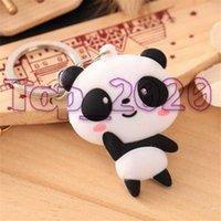 Popolare di modo annata llaveros anello chiave del silicone catena Shellhard Cute Cartoon Panda Bag Portachiavi Ciondolo Portachiavi Uomo Donna Gioielli