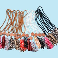 Wooden beaded Neaclace plaid tassel Necklace Vintage 2020 Au...