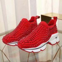 Classics Chaussures à basse rouge à basse cuisson à faible taille Sheadi Spike pour hommes et femmes Chaussures Chaussures Party Mariage Cristal Cuir Sneakers 06
