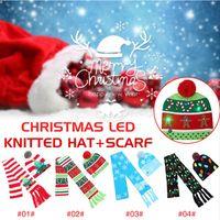 크리스마스 LED 빛 모자 스카프는 4 개 스타일 큰 아이는 LED 빛 모자 만화 트리 크리스마스 니트 비니 스카프 세트 축제 파티 모자 CCA12588을 설정합니다