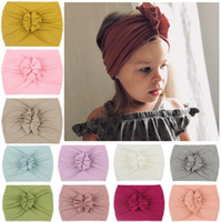 Kids Baby Girl Turban Headband Soft Nylon Headwraps Bow Knot...