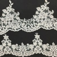 White embroidery Lace wedding dress lace trim with sequins H...