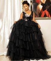 Siyah Akşam Giyim Dresse 2021 Moda Afrika Kadınlar Örgün Elbise Balo Abiye Ünlü Robe de Soiree Sequins Katmanlı Tül