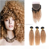 Ombre reines haar afro kinky curly 3 bündel mit spitze schließung zwei ton 1b 27 honig blonde ombre schließung mit menschlichen haare webt