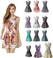 13 diseños más barata nueva marca 2021 verano vestido de verano impresión casual vestido sin mangas de gasa raya floral estampado floral cintura elástica vestidos de playa