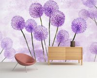 3d Wallpaper foto feita Mural Modern Quente Purple Dream Dandelion Romantic flor de seda decorativa 3d Mural Wallpaper