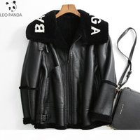 2019 Winter New Women Lamb fur Bomber Real leather jacket sh...
