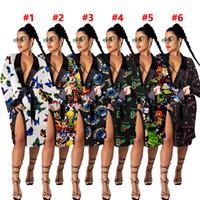 2020 New V Neck Mulheres Cetim Nightgown Sexy Dresses Silk Nightwear Sleep Wear Butterfly Duck Impresso Dress Dress Senhoras Moda Roupas