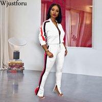 Wjustforu Suit For Women Casual Patchwork 2Pcs Set Sweatshirt With Sweatpants Autumn Sport Suit Zipper Tracksuit Running Se 201009