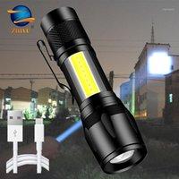 Zhiyu 휴대용 LED T6 COB USB 충전식 빛 펜 클립 3 모드 줌 캠핑 작업 조명 캠핑
