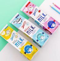 Creativo gracioso leche caja estilo bolso bolso chicas rosa pluma estuche pu bolsa lápiz lindo animal fresa plátano lápiz bolso de lápiz estudiantes nove1