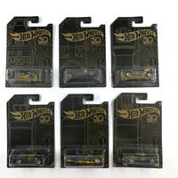Hot Wheels Car Collector's Black Gold Edition 50th Anniversary Metal Diecast Cars Collection Bambini Giocattoli per bambini Veicolo per regalo 6pcs / set LJ200930