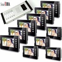 Interphones de téléphone vidéo Smartyiba pour appartement 2 à 12 appartements Moniteurs Couleur Panneau de couleurs Bague Volume Réglable Smart Video Soorbell IR1