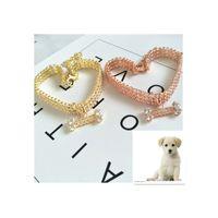 Tres filas Rhinestone Mascotas Collar Forma de hueso Circon Colgantes Collares Ornamentos para perros Cadena Accesorios de Moda Exquisito 9 5CJ N2