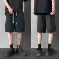 여름 가짜 두 조각 스웨트 쇼츠 2020 새로운 도착 Streetwear 힙합 러닝 반바지 Harajuku KPOP 패치 워크 조깅 무릎 길이 1