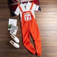 Männer Jeans Mono Holgado Naranja con letras estampadas para hombre, peto pies de viga, ropa informell estio hip hop, pantalones cargo, p