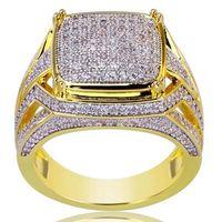 Hip Hop anillos anillo de diamantes cuadrado hip hop anillos de oro de 18 quilates de oro campeón de moto para la joyería de moda masculina voluntad y regalo de arena