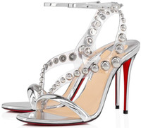 Hot Sandals Sandalias Red Bottom Corinetta Tachuelas Correa de tobillo Tacones altos para mujer Vestido de fiesta de boda Señoras Gladiador Sandalias EU35-43