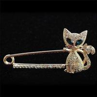 Pins, spille moda verde occhio cristallo gatto placcato perni animali per le donne gioielli decorazione regalo