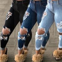 Плюс размер женские джинсы сексуальные дыры кисточки карандаш брюки высокая улица мода весна осень осень женские джинсовые брюки