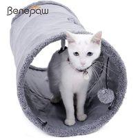 Benepaw Quality Tunnel Cat Tunnel Casque Crinkle Durable Kitten Toys Jouez Hideaway d'intérieur avec un trou de peluche facile à transporter LJ201125