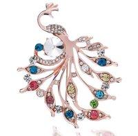 새로운 스타일 다이아몬드 다채로운 공작 브로치, 모든 일치 패션 의류 액세서리 브로치