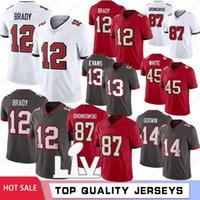 12 Tom Brady 87 Rob Gronkowski Men Football Jerseys 2021 Nouveaux hommes Jerseys Chris Godwin Devin Blanc Mike Evans Vente chaude S-XXXL