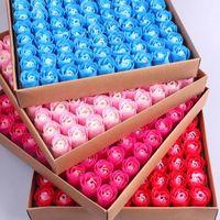 81 PC 로즈 비누 꽃 세트 3 레이어 16 단색 심장 - 모양의 장미 비누 꽃 낭만적 인 웨딩 파티 선물 수제 꽃잎 D 97 J2
