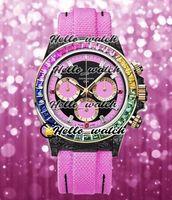 Nuovo 116595 Miyota Quarzo Cronografo Womens Watch quadrante nero DIW nero carbonio forgiato cassa dell'arcobaleno Diamond Bezel Rosa Hello_Watch pelle