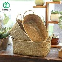 Whism exibir a caixa de recipiente de armazenamento de palha de cesta de armazenamento de vime com cesto de ervas marítimas para decoração de casamento