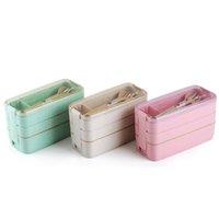 밀 짚 점심 식사 상자 건강한 자재 도시락 상자 3 레이어 900ml 밀 밀짚 벤토 박스 마이크로 웨이브 식기 식품 저장 용기 N5GJW