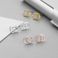 2021 Yeni Marka Tasarımcısı Çift Harfler Küpe Kulak Çiviler Altın Ton Küpe Kadın Erkek Düğün Parti Takı Hediye Için