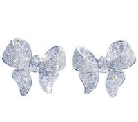 Sterling Silver Bow Lovely Designer Boucles d'oreilles en cristal de luxe CZ Brillante diamant Pierre Boucles d'oreilles Mignon Bijoux pour les femmes