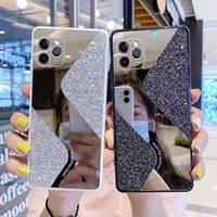 Роскошные побрякушки Блеск телефон чехол для iPhone 12 Pro Max 11 SE 2020 7 8 Plus 6 пришивания Геометрическая зеркало для макияжа крышки женщин