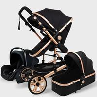 Lüks Bebek Arabası 3 1 Hakiki Taşınabilir Bebek Arabası Fold PRAM Alüminyum Çerçeve Yenidoğan için Yüksek Peyzaj Arabası11