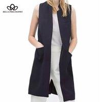 Bella Philosophie Blazer Casual Wayctoat Femmes Longue costume Vest Gilet Jacket manteau Noir Poches Bureau Dame Y201001