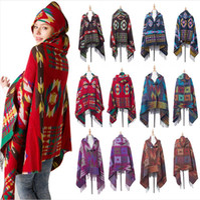 Mulheres Bohemian Collar Manta Cobertor Cobertor Cabo Cape Poncho Moda Lã Blend Winter Outwear Scarf Scarf Dda755