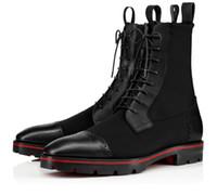 Parte inferior roja de arranque Sockroc Negro becerro de cuero superior de lujo de invierno las botas del tobillo de los hombres de Cera Lug Sole botines de combate Martin botas de motos