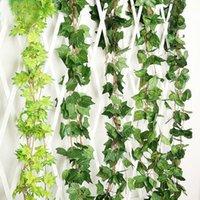 Couronnes de fleurs décoratives 5pcs / lot 2.4m Plantes artificielles Vert Ivy vert escalade Tiger Tiger Tiger Pomme de terre Hitom Vigne Faux Feuillage Mariage1