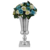 43cm 큰 멋진 실버 아이언 럭셔리 꽃병 웨딩 테이블 센터 피스 홈 장식 T200703