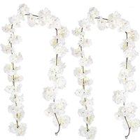 2pcs artificiels fleur de cerisier vigne blanc pétale fleurs pour toujours plantes guirlande pour la décoration de la maison jardin de mariage jardin1
