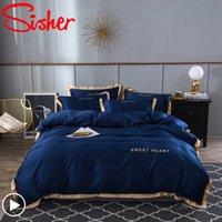 Conjunto de cama de luxo 4 pcs folha de cama lisa breves capa de edredão conjunto rei confortável colcha cobre solteiro cama de cama de cama de cama de casal 20116