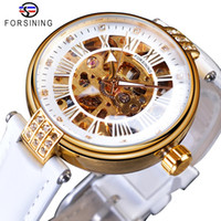 ForSinining White Golden Mecánico Automático Lujo Top Brand Lady Wrk Watch Skeleton Reloj Women Relojes de vestir de cuero genuino
